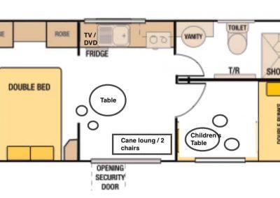 Kanasta Caravan Park Cabin 3 Floor Plan